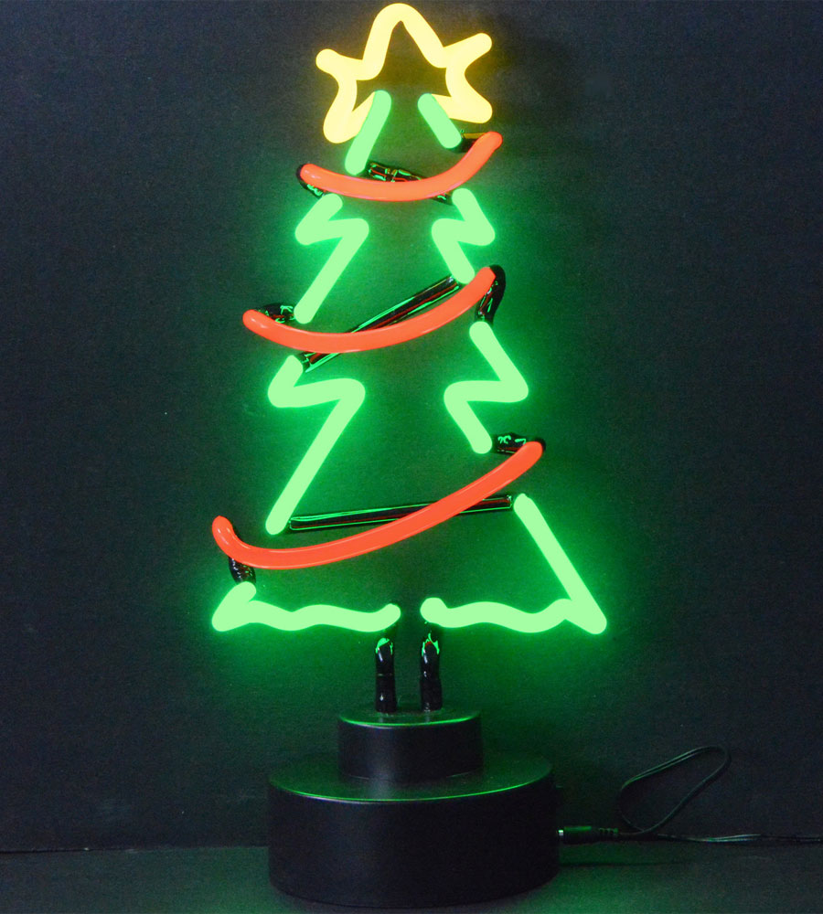Christmas Tree With Garland Neon Sculpture In Neon Light Art