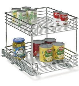 Chrome Two-Tier Sliding Cabinet Organizer Image