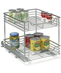 Chrome Two-Tier Sliding Cabinet Organizer