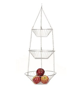 Three-Tier Hanging Fruit Baskets - Chrome Image