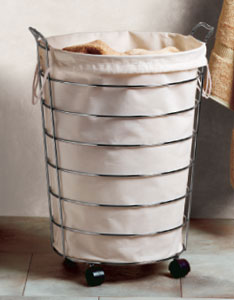 stylish chrome laundry hamper wheels