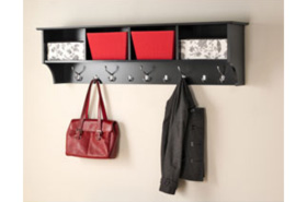 60 Inch Hanging Shelf with Coat Hooks