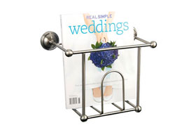 Wall Mount Magazine Rack in Satin Nickel