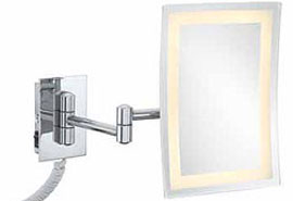 LED Rectangular Pivot Arm Lighted Wall Mirror