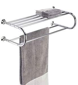 Hotel Style Chrome Towel Rack and Shelf