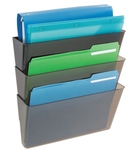 Three Tier Wall Mount File Pocket in Chrome