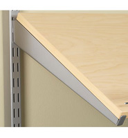 Angled 14 Inch Solid Shoe Shelf Bracket - Nickel