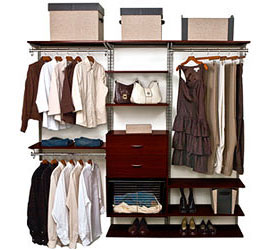 FreedomRail Closet Shelving System in Chocolate Pear
