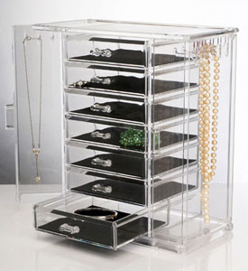 Acrylic Jewelry Chest and Necklace Holder