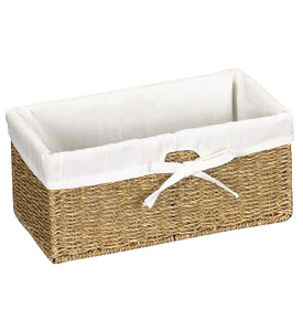 Canvas Lined Seagrass Basket in Small