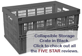 Collapsible Storage Crate in Black