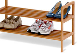 Two-Tier Bamboo Shoe Rack
