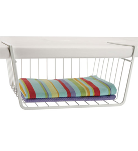 12 Inch Under Shelf Storage Basket in White