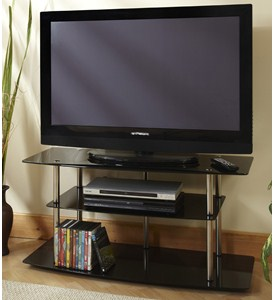 Classic Black Glass TV Stand by Convenience Concepts Image
