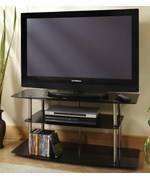 Classic Black Glass TV Stand by Convenience Concepts