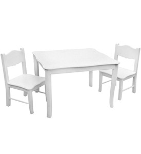 Classic White Table & Chairs Set By Guidecraft Image