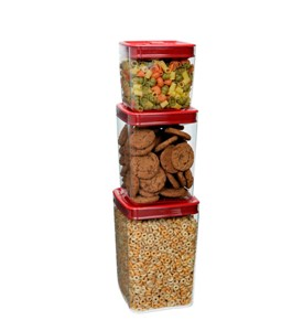 Stackable Food Storage Cubes - Red Lid (Set of 3) Image