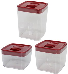 ClickClack Food Storage Containers - Red Cube (Set of 3) Image