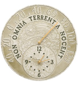 Outdoor Thermometer and Clock - Fossil Celestial Image