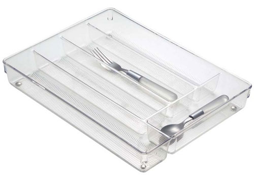Clear plastic cutlery storage tray in kitchen drawer for Cutlery storage with lid