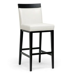 Clymene Black Wood and Cream Leather Modern Bar Stool by Wholesale Interiors Image