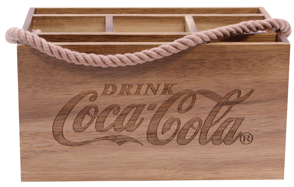 cocacola picnic flatware caddy wood image