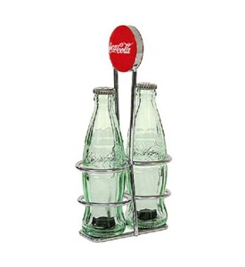 Coca-Cola Salt and Pepper Shakers with Rack Image