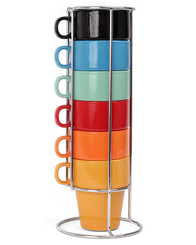Chrome Coffee Mug Stand And Nesting Mugs Image