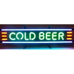 Cold Beer Neon Sign on Metal Grid by Neonetics Image