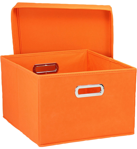 collapsible storage box orange set of 2 in decorative