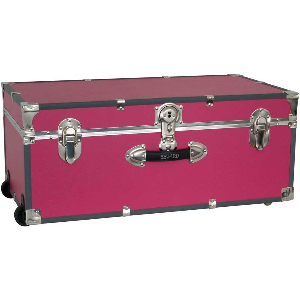 Elegant Collegiate Wheeled Storage Trunk   Pink Image