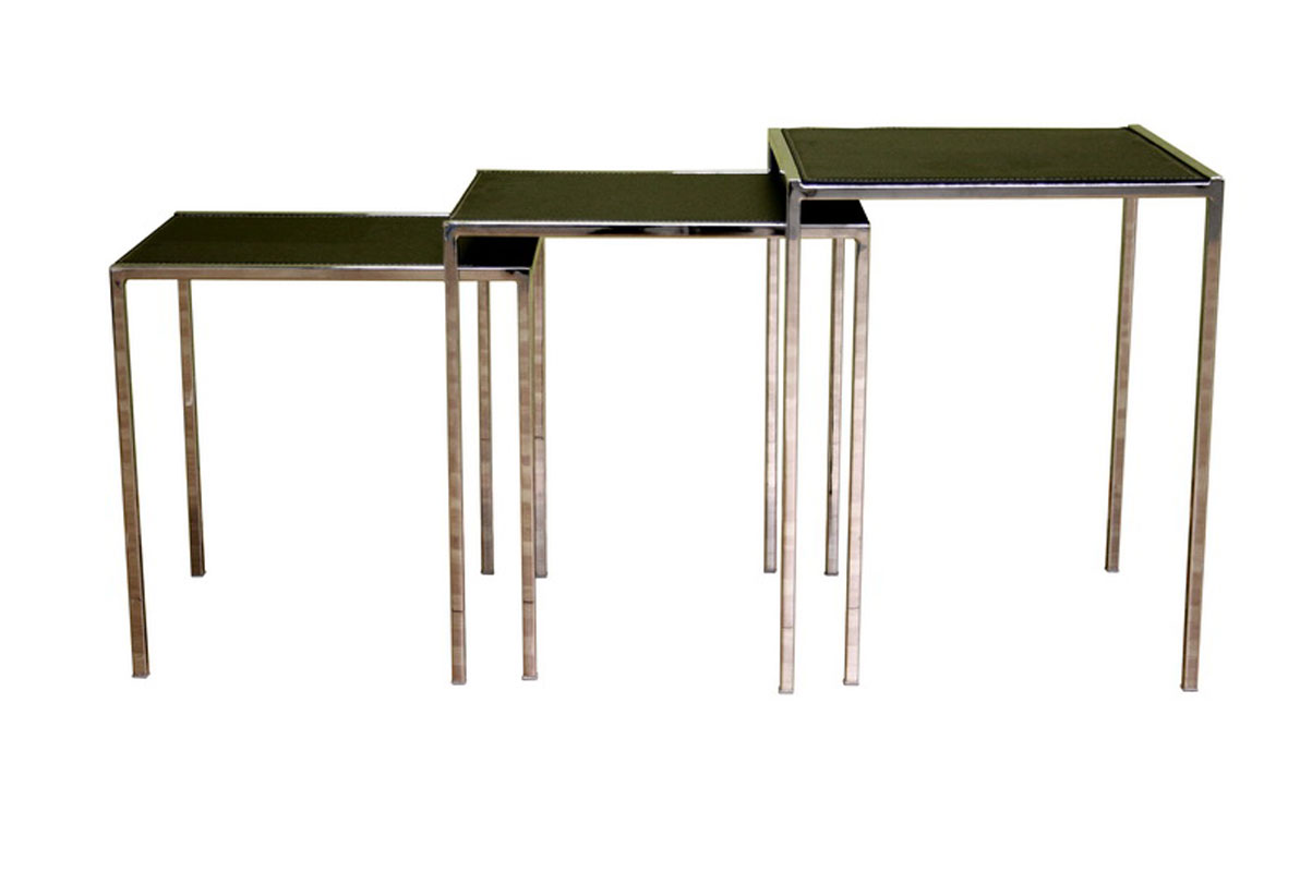 colombo set of three black bonded leather nesting tables by wholesale interiors inc in nesting