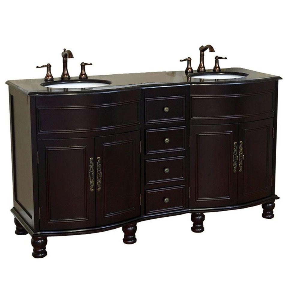 Colonial cherry double sink wood vanity in bathroom vanities for Cherry bathroom vanity cabinets