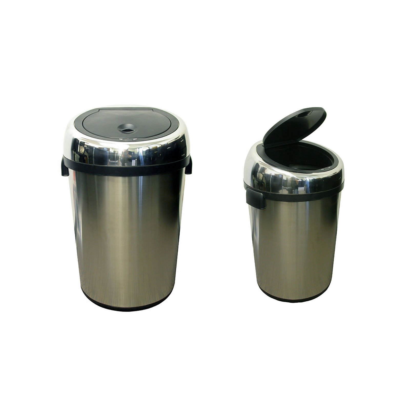 Commercial size stainless steel automatic trash can by for Kitchen garbage cans