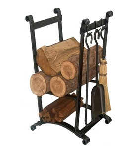 Compact Hammered Steel Log Rack with Tools Image