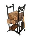 Compact Hammered Steel Log Rack with Tools