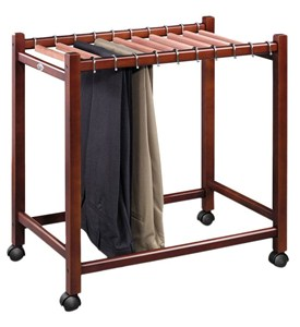 Compact Rolling Pant Trolley with Cedar Hangers Image