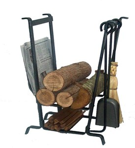 Complete Hearth Center Firewood Holder with Tools Image