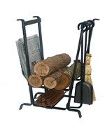Complete Hearth Center Firewood Holder with Tools