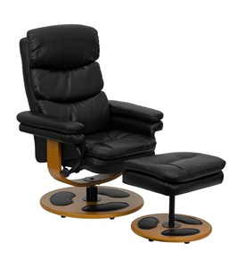 Contemporary Black Bonded Leather Recliner and Ottoman with Wood Base by Flash Furniture Image