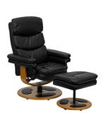 Contemporary Black Bonded Leather Recliner and Ottoman with Wood Base by Flash Furniture