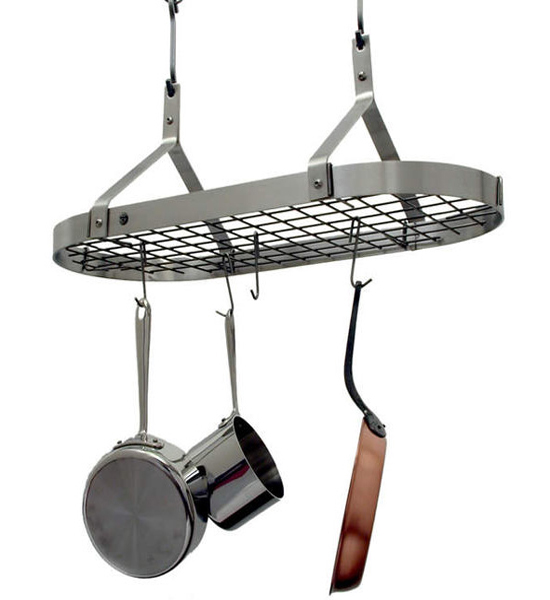 Contemporary Hanging Pot Rack Stainless Steel In Hanging