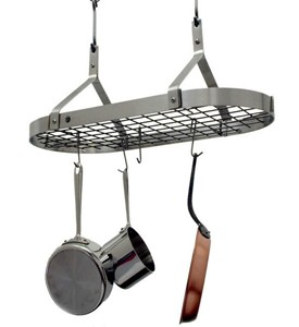 Contemporary Hanging Pot Rack - Stainless Steel Image
