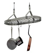 Contemporary Hanging Pot Rack - Stainless Steel