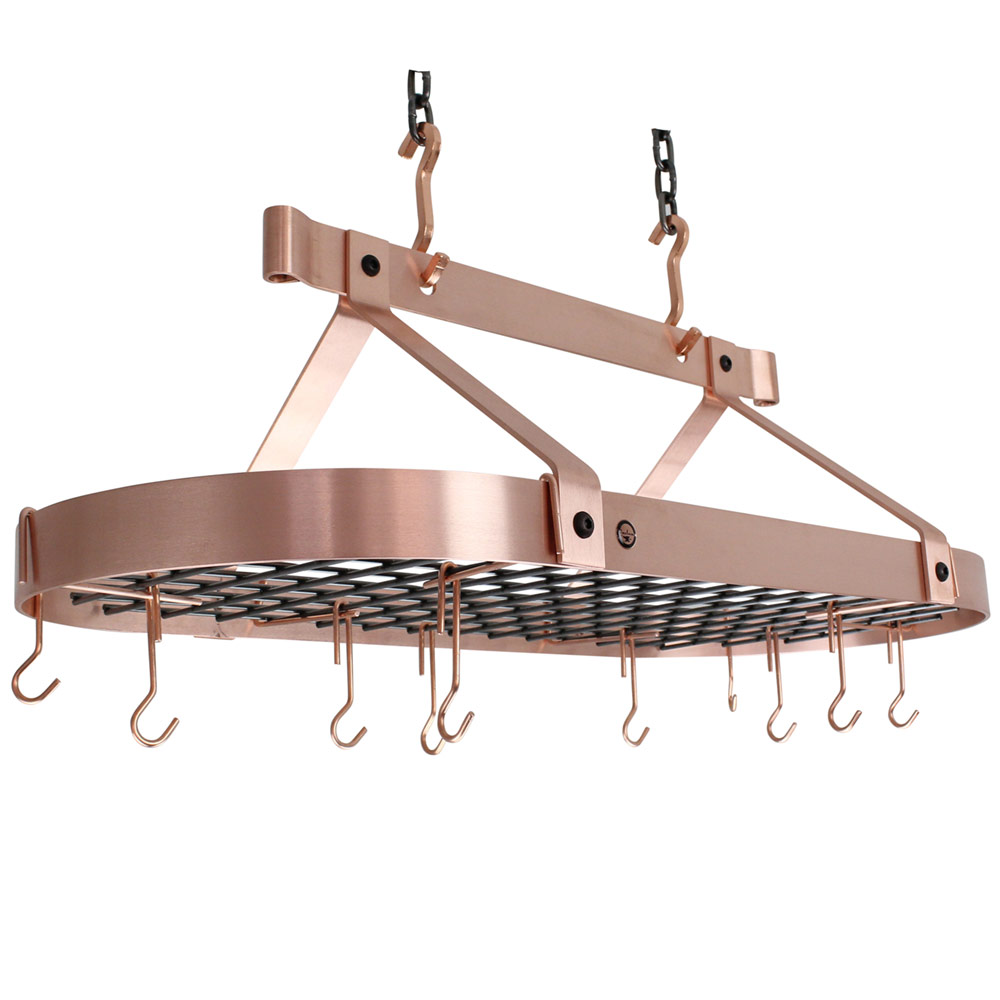 Hanging Pot Rack With Grid Copper In Hanging Pot Racks