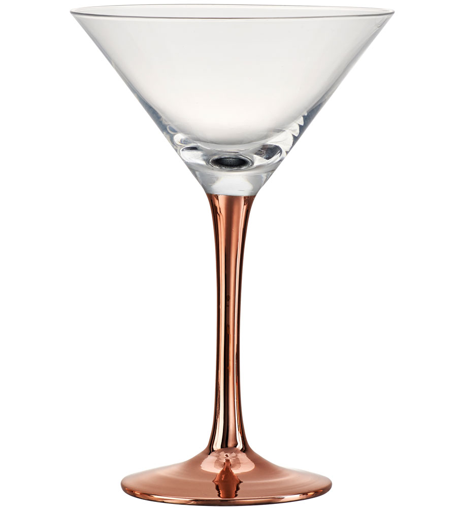 copper stem martini glass set of 4 in glassware. Black Bedroom Furniture Sets. Home Design Ideas