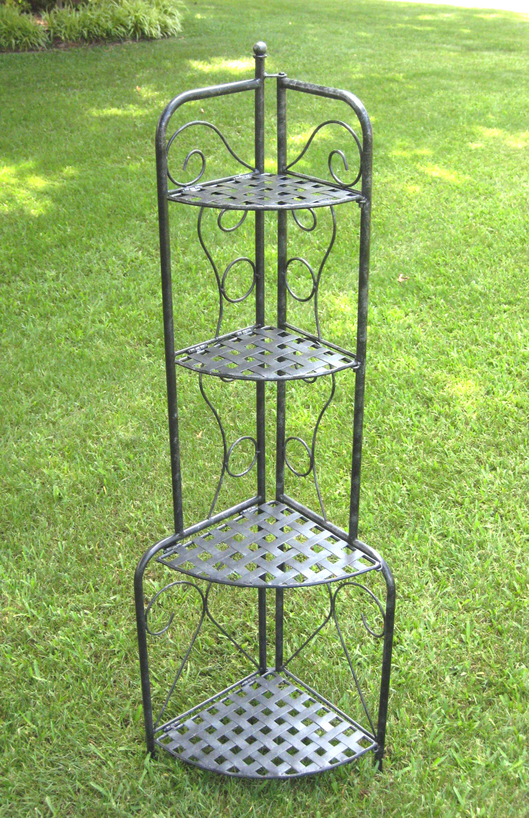 Corner Folding Bakers Rack Wrought Iron In Cookware Stands