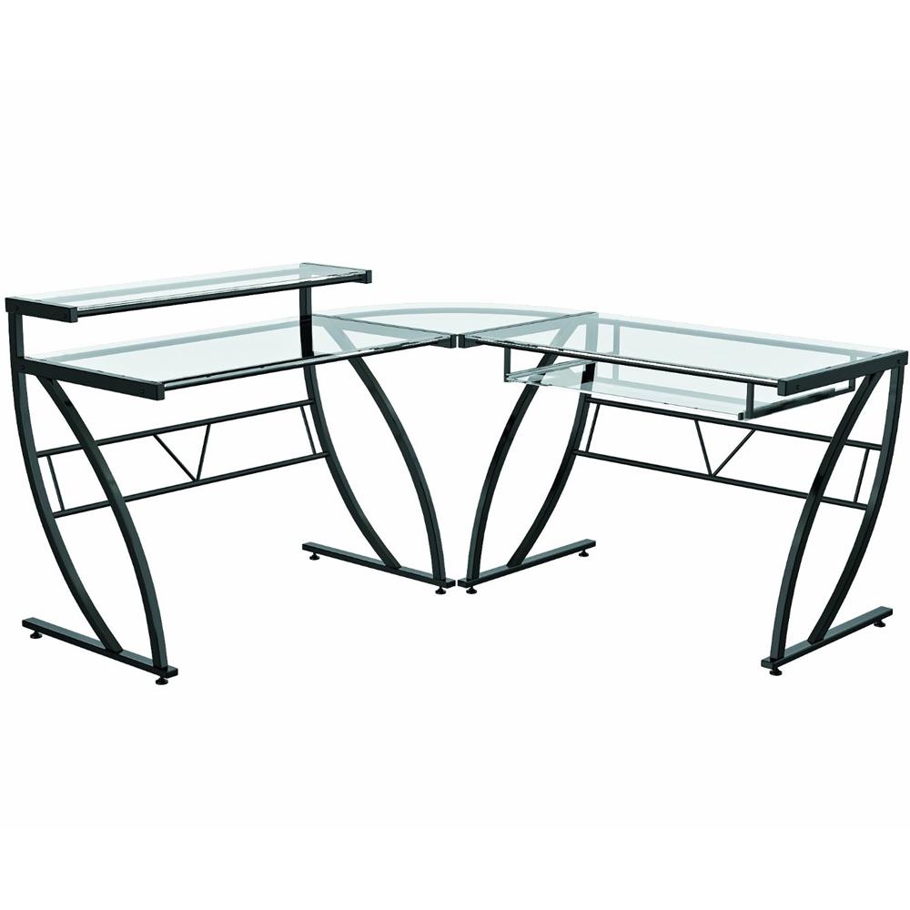 corner glass computer desk bella in desks and hutches