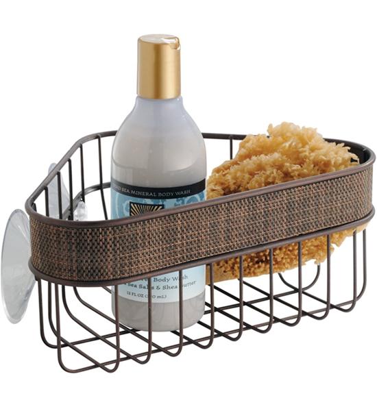 corner shower suction basket bronze image