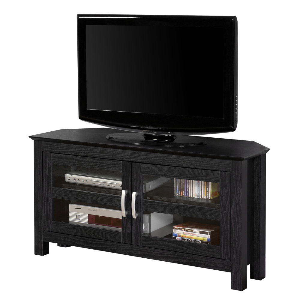 44 Inch Corner Wood TV Stand With Glass Doors By Walker
